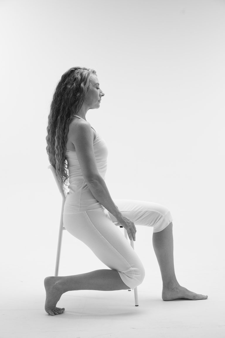 Chair yin yoga variation toe pose